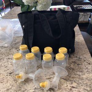 Medela pump bag plus bottles